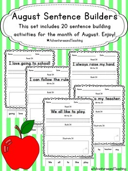 August Sentence Builders {morning work, word work, daily 5