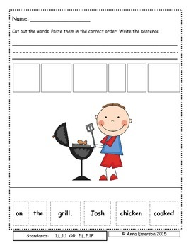 August Sentence Scrambles First or Second Grade
