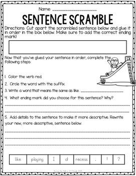 August Sentence Scrambles {Interactive}