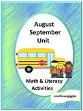 August September Back to School Unit Fine Motor Skills Rev