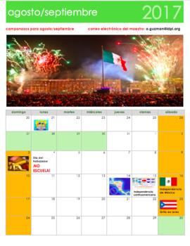 August & September 2017 Calendar in Spanish. Calendario septiembre 2017 español