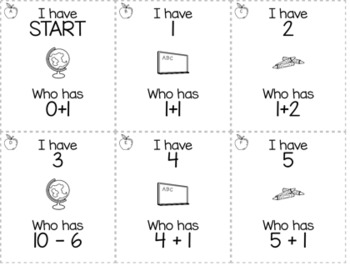 """August/September Back to School 1st Grade """"I Have, Who Has"""" Math Game Bundle"""
