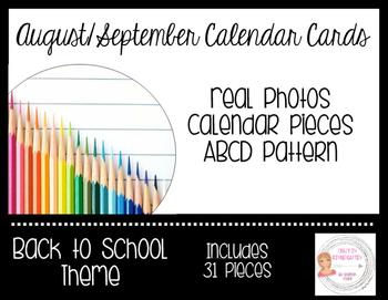 August/September Back to School Calendar Cards-Real Photos