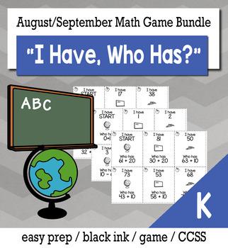 "August/September Back to School Kindergarten ""I Have, Who Has"" Math Game Bundle"