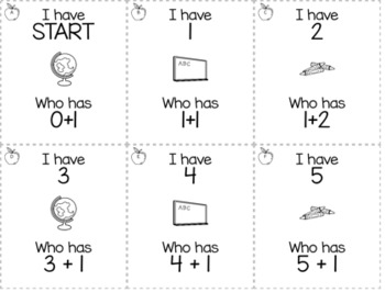 "August/September Back to School Kindergarten ""I Have, Who Has"" Math Game Bundle"