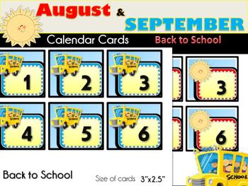 August & September Calendar Cards