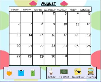 August & September Morning Calendar Lesson
