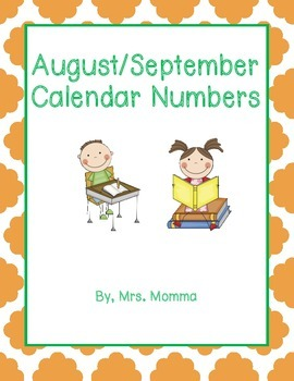 August September Calendar Numbers