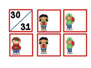 August- September Calendar Numbers Apple Theme Classroom Decor