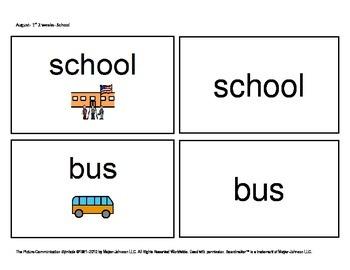 August/ September Functional Spelling Boardmaker Picture C