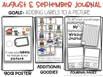 August September Kindergarten Adding Labels to a Picture Writing Journal Pack