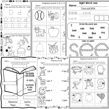 August / September Kindergarten Math and Literacy Printables