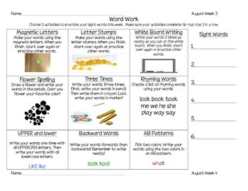 August-September-October Word Work