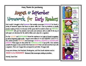 August & September READING Homework Sample