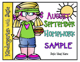 August & September READING Homework Sample