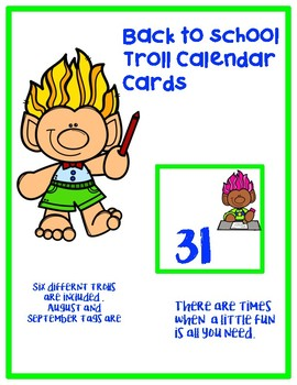 August/September Troll Calendar Cards