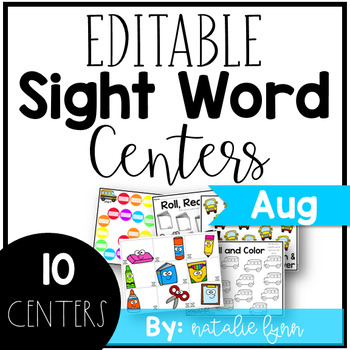 August Sight Word Centers Editable
