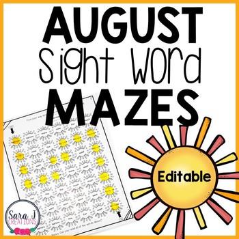 August Sun Sight Word Mazes