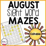Editable Sight Word Games - Sun Mazes for Summer
