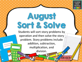 August Sort and Solve Story Problems