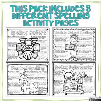 August Spelling Activities