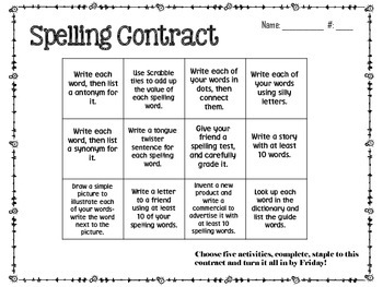 August Spelling Contracts-5 Weeks
