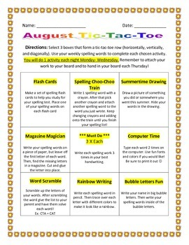 August Spelling Tic-Tac-Board