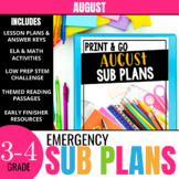 August Sub Plans for 3rd & 4th Grade: Ready-to-use lesson plans & activities