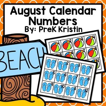 August (Summer Themed) Calendar Numbers