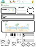 August Themed Piano Lesson Assignment Sheet