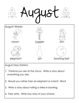 August Themed Take Home or Classroom Writing JOurnal