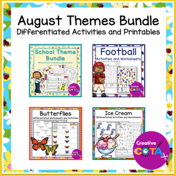 August Themes Bundle Differentiated Activities and Printables