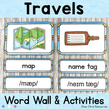 August - Travels  - Word Wall Words and Puzzle Activity - Vocabulary