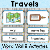 August - Travels  - Word Wall Words and Puzzle Activity -