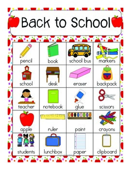 Back To School Vocabulary Cards