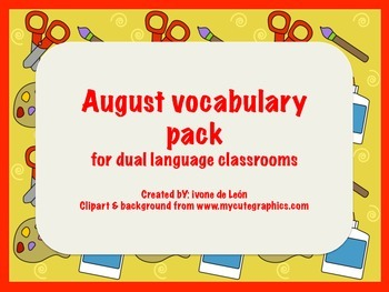 August Vocabulary Center Packet
