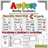 August Vocabulary Word Wall, Booklet, Writing Activities and BINGO