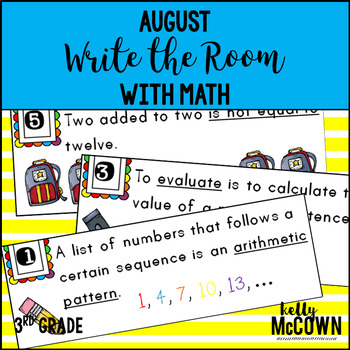 August WRITE THE ROOM with Math - 3rd Grade