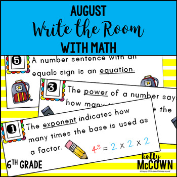 August WRITE THE ROOM with Math - 6th Grade