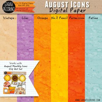 August Watercolor Digital Papers