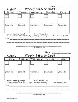 August Weekly Behavior Chart