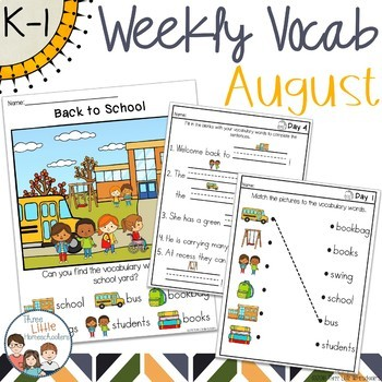 August Daily Weekly Thematic Vocabulary Word Work