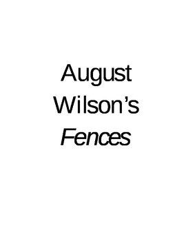 August Wilson Fences Bulletin Board Activity