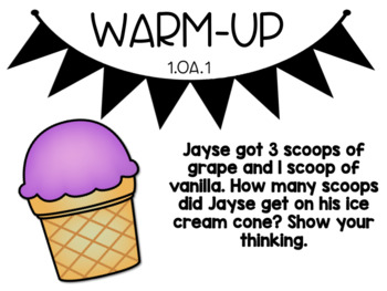 August Word Problem Warm-Ups & Printables 1.OA.1