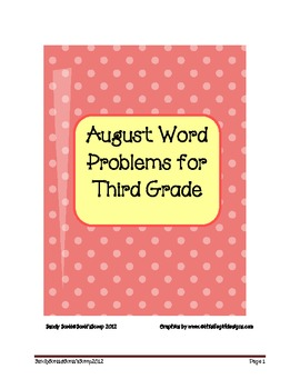 August Word Problems for Third Grade