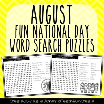 August Word Search Puzzles