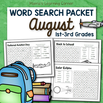 August Word Search Packet