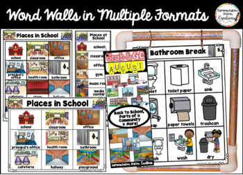 August Word Walls: Back to School, Parts of a Community, Simple Machines