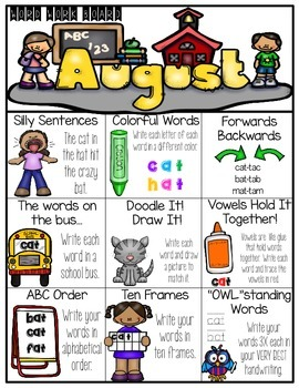 August Word Work Choice Board