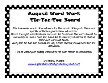 August Word Work Tic Tac Toe and Activity Sheets